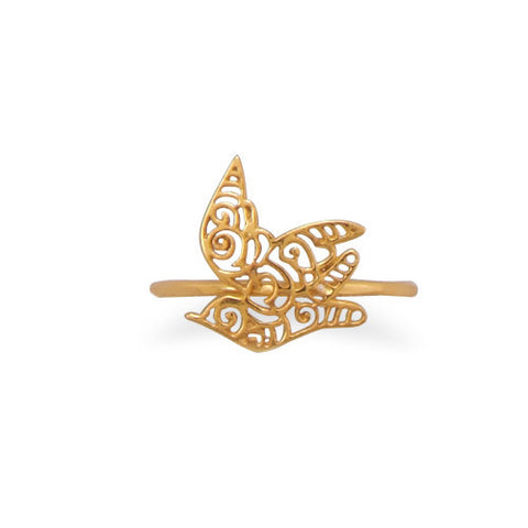 14 Karat Gold Plated Cut Out Dove Design Ring