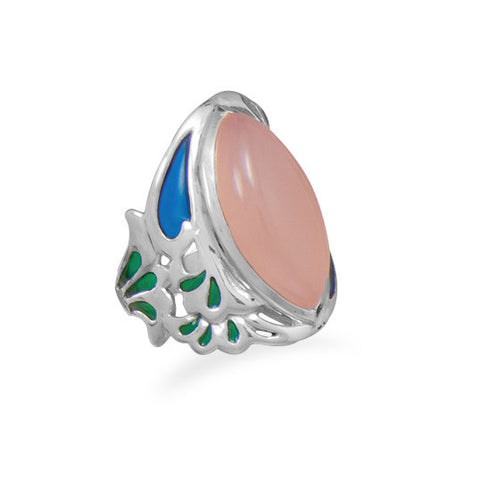 Ornate Pink Chalcedony Ring
