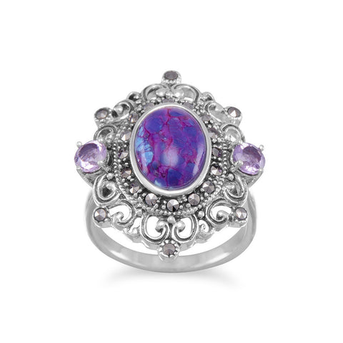 Ornate Marcasite and Reconstituted Purple Turquoise Ring