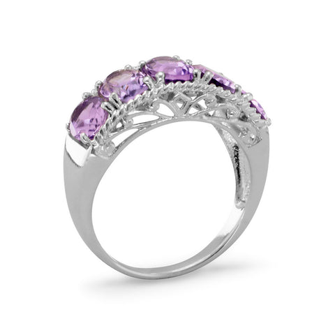 Five Stone Amethyst Ring