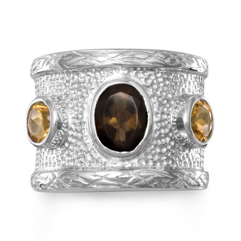 Quartz and Citrine Textured Ring