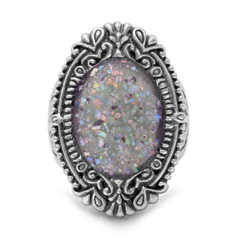 Ornate Oval Roman Glass Ring