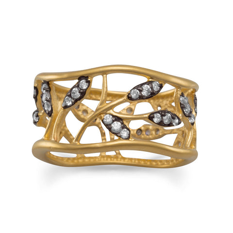 14 Karat Gold Plated Vine Design Ring with CZs