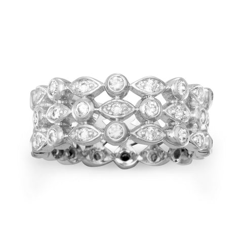 Rhodium Plated Triple Band CZ Ring