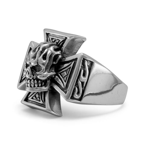 Oxidized Maltese Cross and Skull Ring