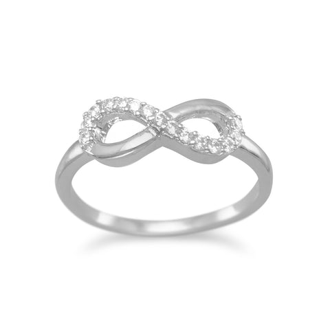 Rhodium Plated CZ Infinity Ring