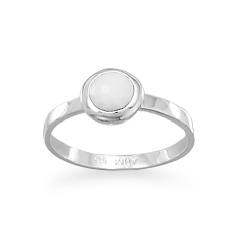 Freeform Faceted White Agate Stackable Ring