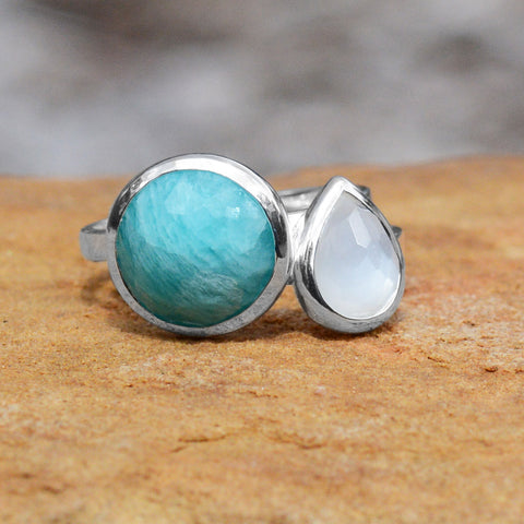 Large Pear Shape Freeform Faceted Blue Chalcedony Stackable Ring