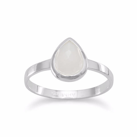 Small Pear Shape Freeform Faceted Moonstone Stackable Ring