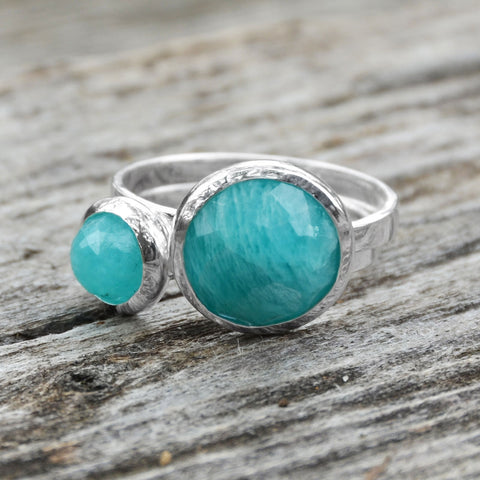 Small Round Freeform Faceted Amazonite Stackable Ring