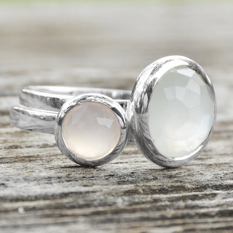 Large Round Freeform Faceted Moonstone Stackable Ring