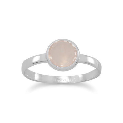 Small Round Freeform Faceted Synthetic Pink Chalcedony Stackable Ring