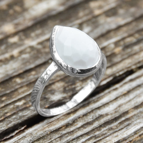 Large Pear Shape Freeform Faceted White Agate Stackable Ring