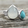 Large Pear Shape Freeform Faceted Synthetic Sea Green Chalcedony Stackable Ring