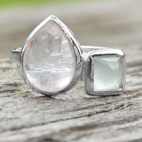 Small Square Freeform Faceted Synthetic Sea Green Chalcedony Stackable Ring