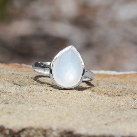 Large Pear Shape Freeform Faceted Moonstone Stackable Ring