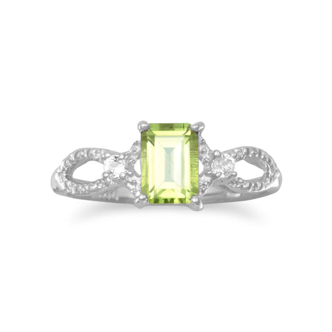 Rhodium Plated Peridot and White Topaz Ring