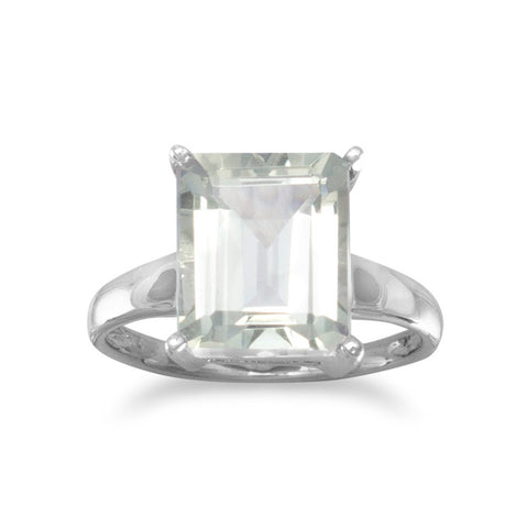 Rhodium Plated Green Amethyst Ring