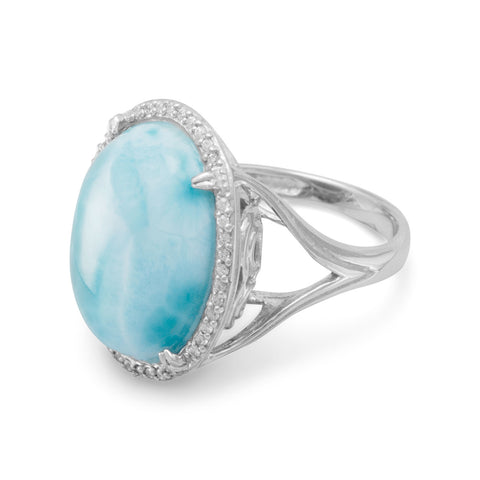 Large Rhodium Plated Oval Larimar and CZ Ring