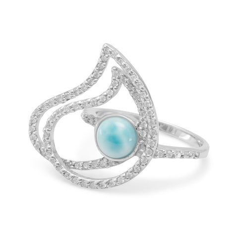 Rhodium Plated Abstract Ring with Larimar and CZs