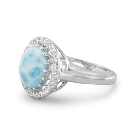 Rhodium Plated Oval Larimar and CZ Ring