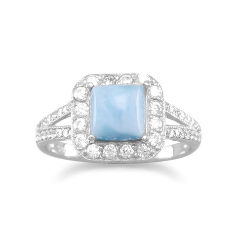 Rhodium Plated Square Larimar and CZ Ring