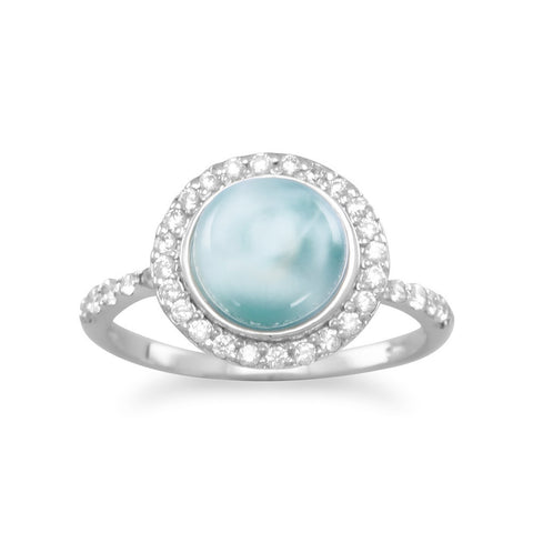 Rhodium Plated Round Larimar and CZ Ring
