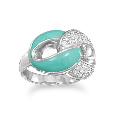 Rhodium Plated CZ and Reconstituted Turquoise Link Design Ring