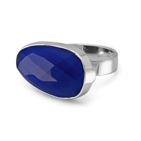 Freeform Blue Chalcedony Ring