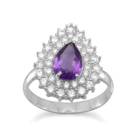 Elegant Amethyst and CZ Cocktail Ring