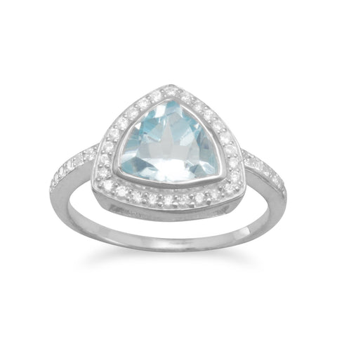 Blue Topaz and CZ Ring