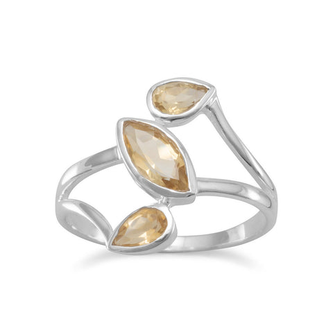 Citrine Split Band Design Ring
