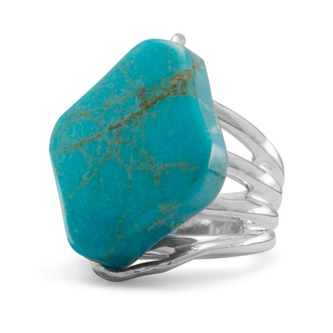 Diamond Shape Stabilized Turquoise Ring