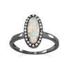 Ruthenium Plated Oval White Synthetic Opal and CZ Ring