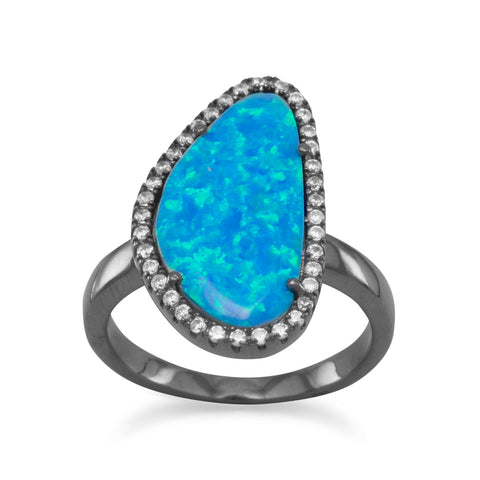 Ruthenium Plated Freeform Synthetic Opal and CZ Ring