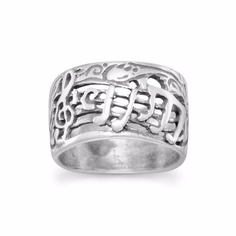 Oxidized Musical Theme Ring