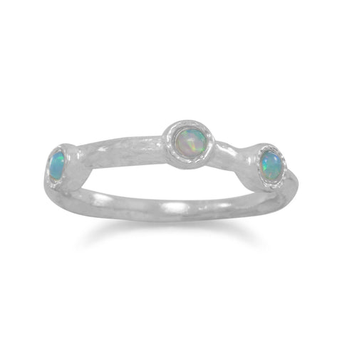 Polished Synthetic Blue Opal Ring