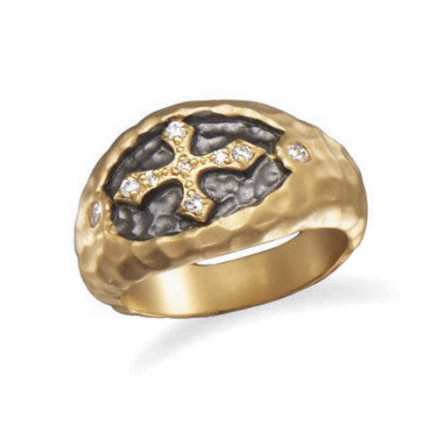 14 Karat Gold Plated CZ Cross Ring