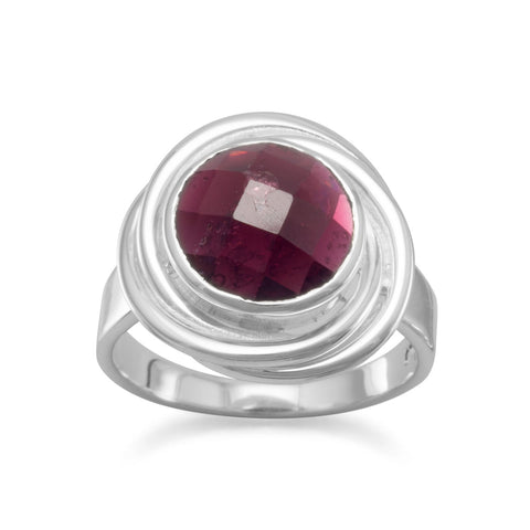Faceted Garnet Button Ring