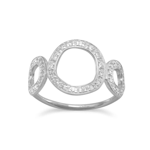 Rhodium Plated Triple Circle Ring