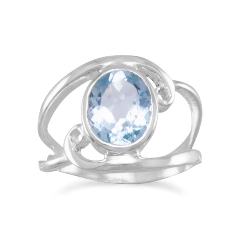 Cut Out Oval Blue Topaz Ring with Swirls