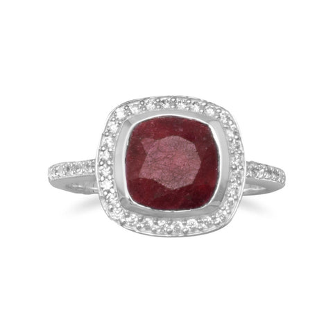 Corundum Ring with CZ Edge