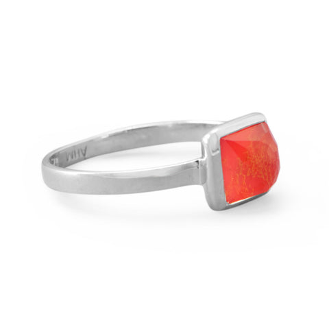 Small Square Freeform Faceted Quartz over Reconstituted Coral Stackable Ring