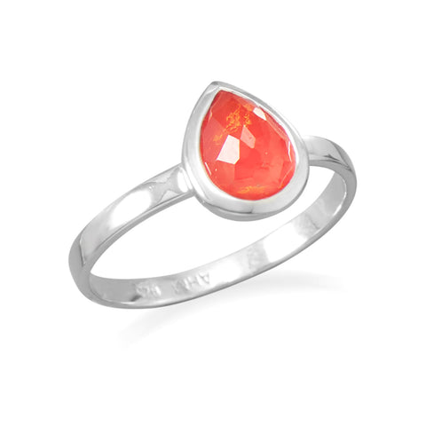 Small Pear Shape Freeform Faceted Quartz over Reconstituted Coral Stackable Ring