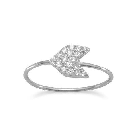 Rhodium Plated CZ Arrow Ring