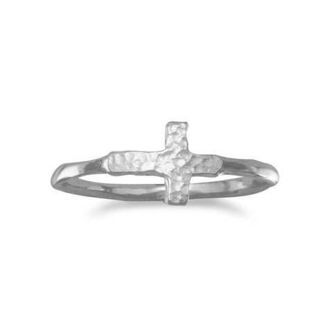 Rhodium Plated Textured Sideways Cross Ring