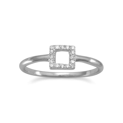 Rhodium Plated Square Ring with CZs