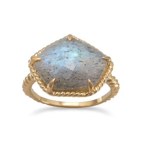 14 Karat Gold Plated Labradorite Ring