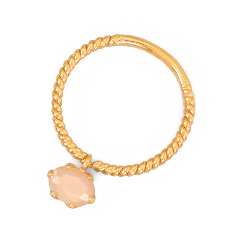 14 Karat Gold Plated Peach Moonstone Charm Ring