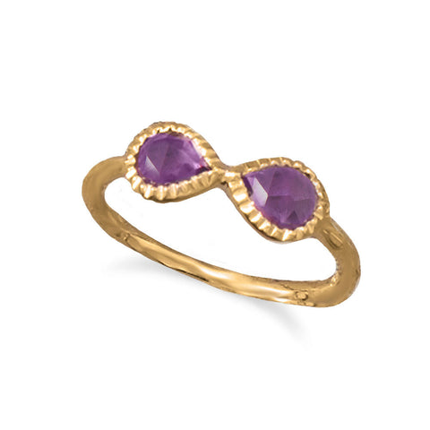 14 Karat Gold Plated Amethyst Infinity Ring